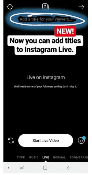 Новая опция заголовка для Instagram Live
