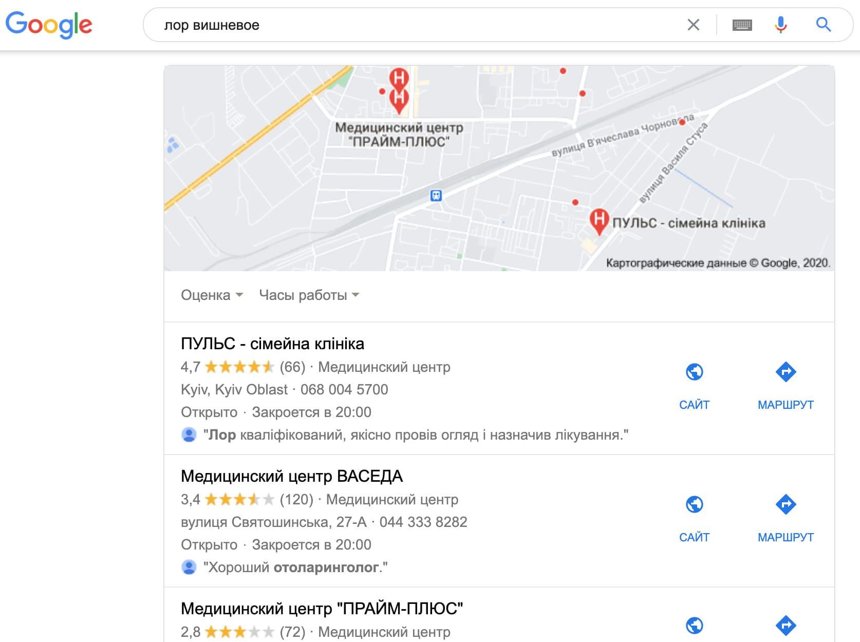 Поисковая выдача в гугл мапс